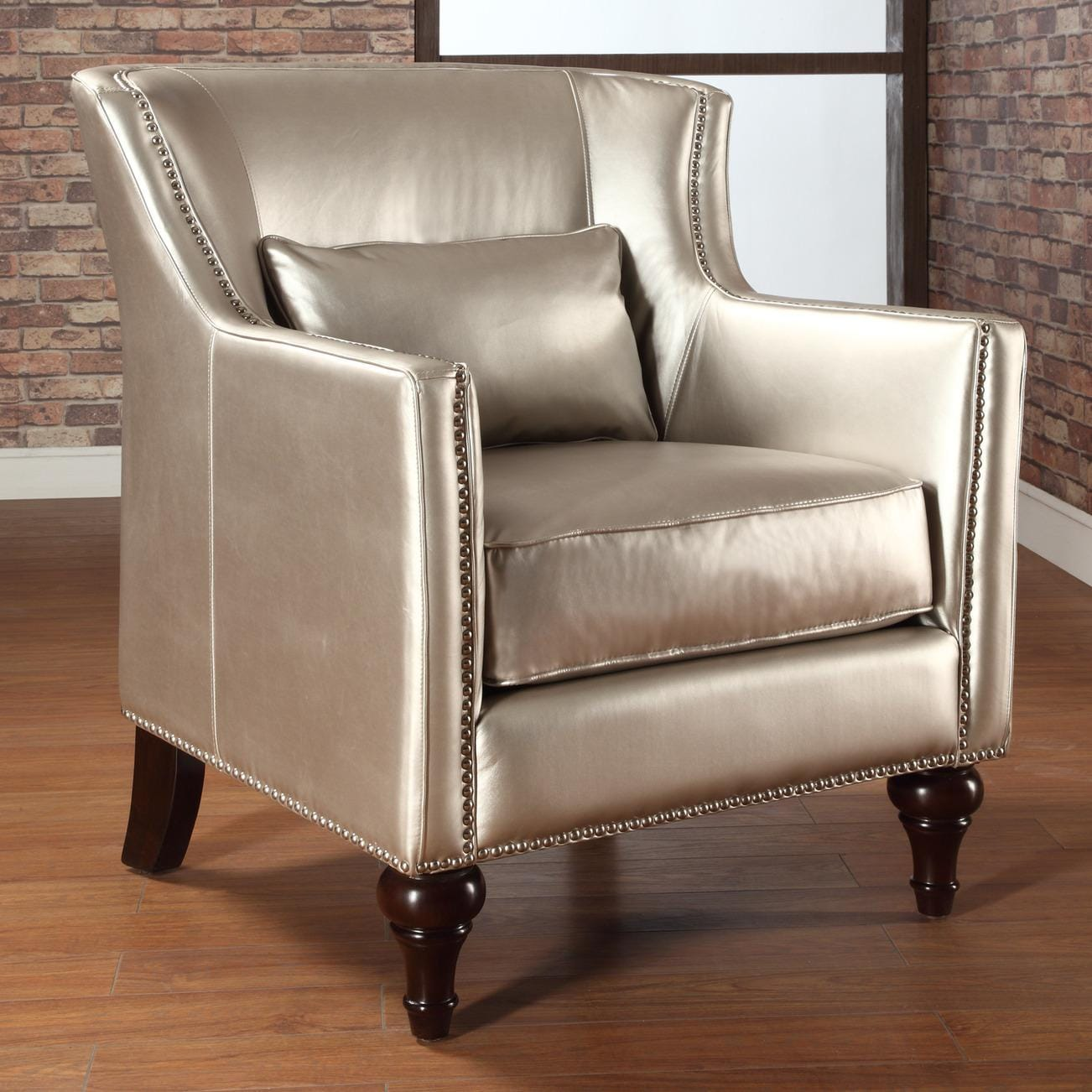 Trenton Gold Metallic Silver Arm Chair 13510865