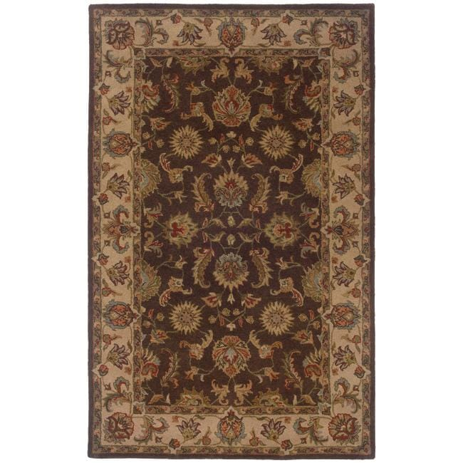 Hand Tufted Brown And Beige Wool Area Rug 8 X 10
