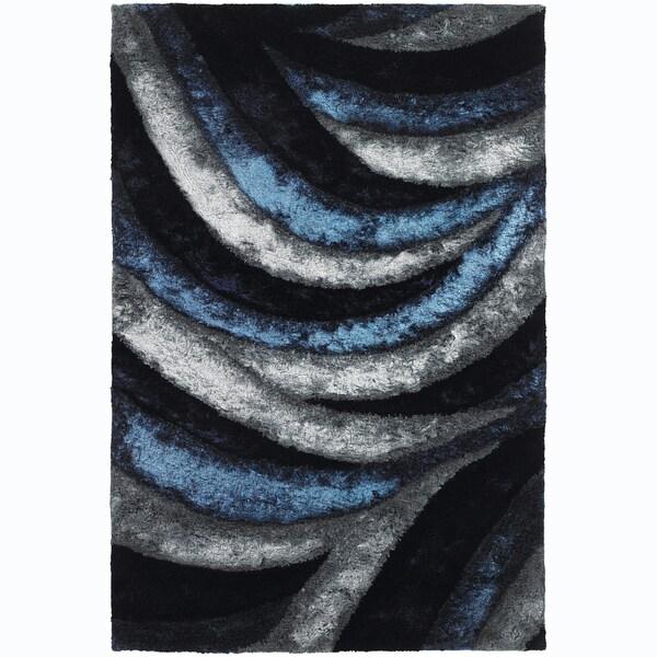 Contemporary Mandara Handwoven Geometric Blue Gray Shag Rug