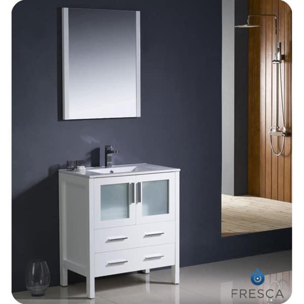 Fresca torino 30 inch white modern bathroom vanity with - 30 inch white bathroom vanity with sink ...