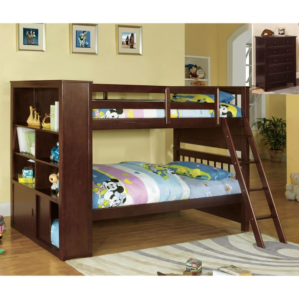 New Bookcase Toy Box White Finish Bedroom Playroom Child: Furniture Of America Multi-functional Espresso Finish Twin