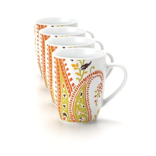 Rachael Ray Dinnerware Paisley 4 Piece Mug Set 11 Ounce