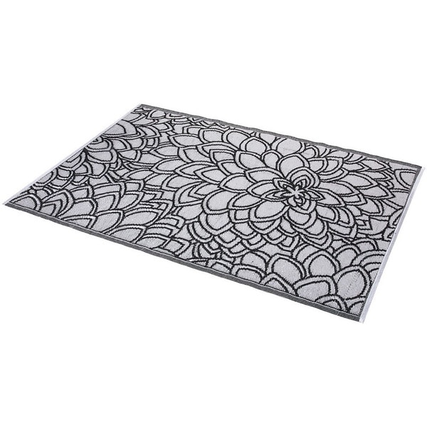 Indoor Outdoor Rugs Black And White: Floral Black And White Indoor/ Outdoor Rug (6' X 4