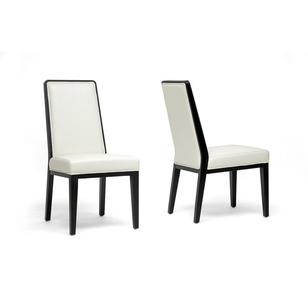 Safavieh En Vogue Dining Matty Black And White Striped: Theia Black Wood And Cream Leather Modern Dining Chairs