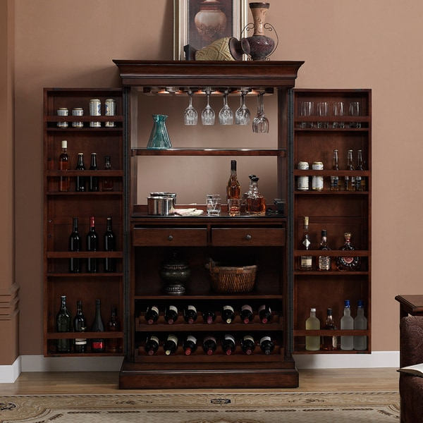 Ashley Heights Home Bar Wine Cabinet Overstock Shopping