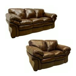 Chicago Brown Italian Leather Sofa And Loveseat 13641999