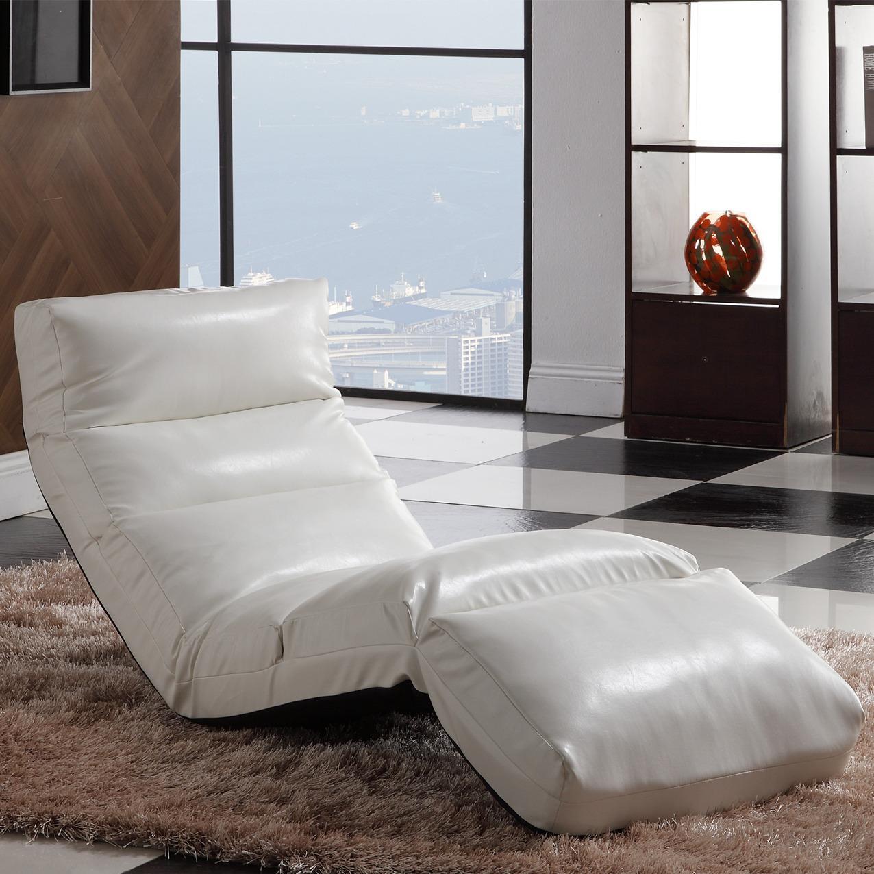 Naomi White Memory Foam Floor Lounge Chair 13642279