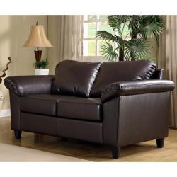 Insten Lucia Dark Brown Faux Leather Loveseat 13720807
