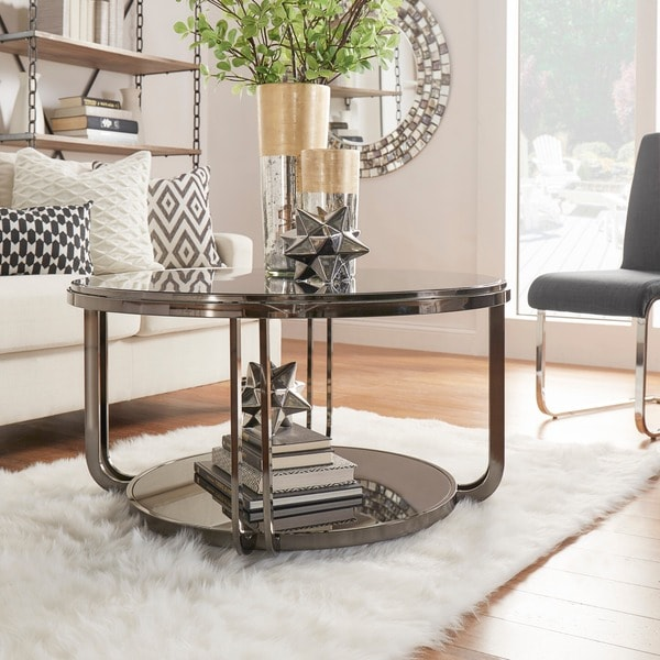Round Red Coffee Table: INSPIRE Q Edison Black Nickel Plated Castered Modern Round