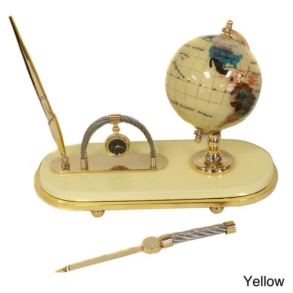 Casa Cortes Executive Handcrafted Gemstone Globe Desk Pen