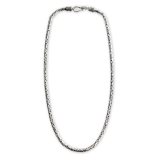Borobudur Collection Buddhist Zen Inspired Handmade 925 Sterling Silver Naga Snake Mens or Womens Chain Necklace (Indonesia)