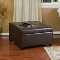 Alexandria Brown Bonded Leather Storage Ottoman by Christopher Knight Home