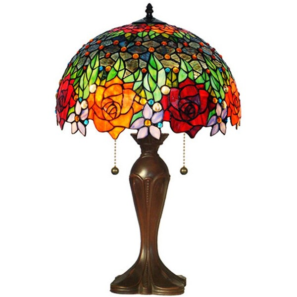 Tiffany Style Jeweled Roses Table Lamp 14959836