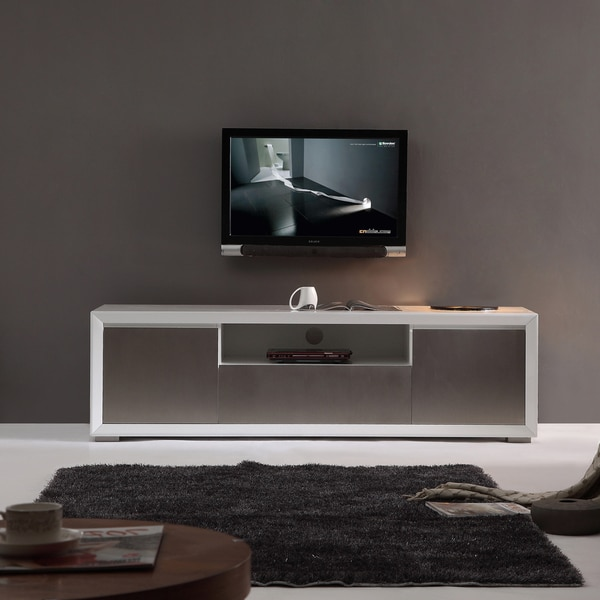 Element High Gloss White Stainless Steel Tv Stand