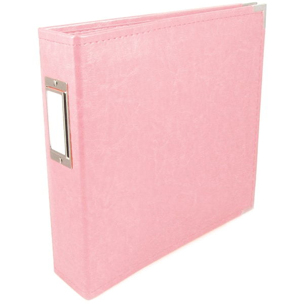 """We R Faux Leather 3-Ring Binder 6""""X6""""-Pretty Pink"""