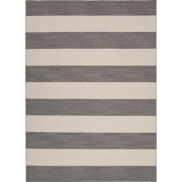 Flat Weave Stripe Gray Rug 8 X 10 14964863