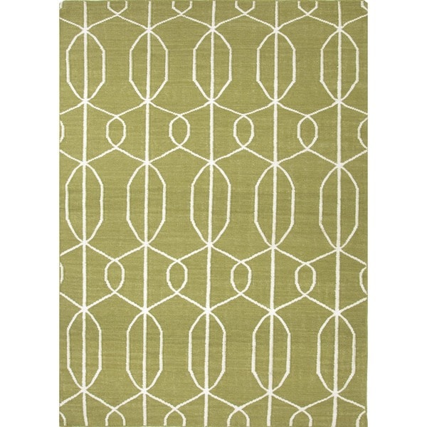 Green Flat Weave Rug: Flat Weave Geometric Green Wool Area Rug (8' X 10