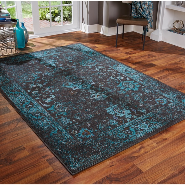 Distressed Traditional Overdyed Black Teal Area Rug