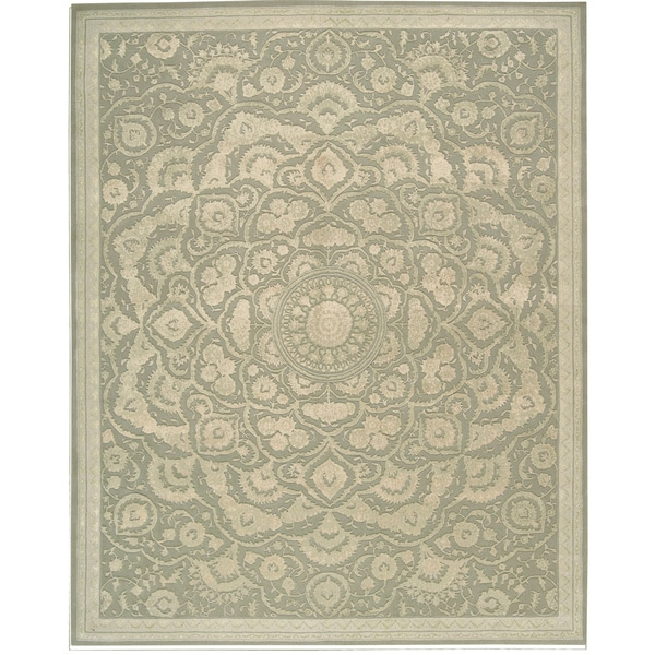 Nourison Hand Tufted Floral Regal Light Green Wool Rug