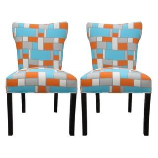 Astonishing Cheap Bella Hopscotch Orange Blue Upholstered Dining Chairs Creativecarmelina Interior Chair Design Creativecarmelinacom