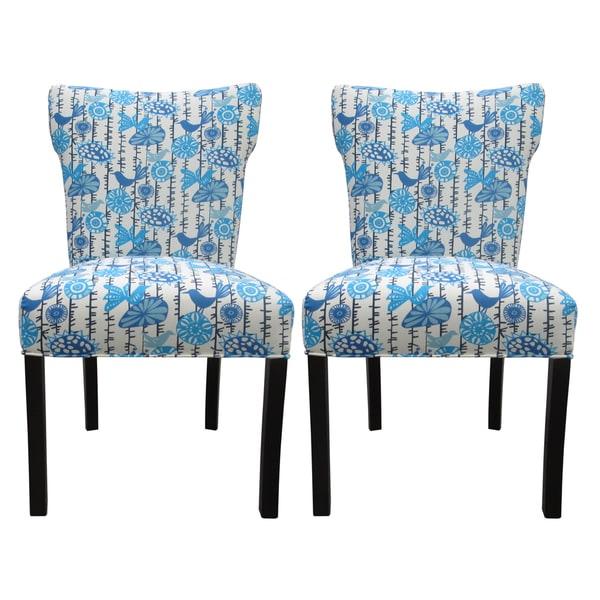 Bella Menagerie Blue Bird Upholstered Dining Chairs (Set