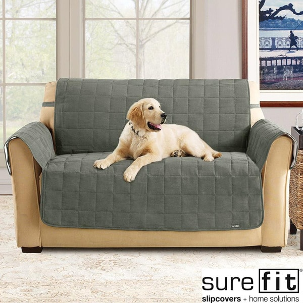 Sure Fit Soft Suede Loden Waterproof Sofa Protector