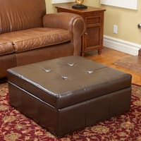 Chatsworth Brown Leather Storage Ottoman by Christopher Knight Home