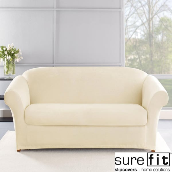 Surefit Chair Covers Sure Fit Stretch Plush Cream Sofa Slipcover - 14975960 ...