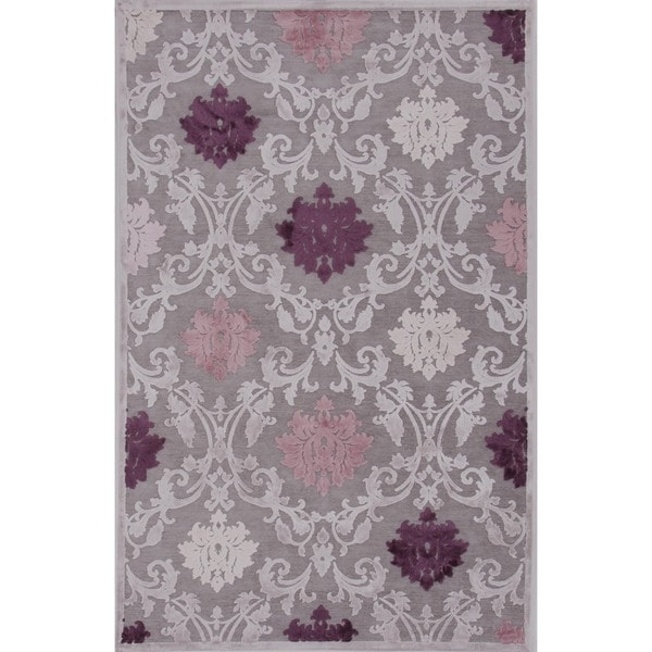 Transitional Pink/ Purple Viscose/ Chenille Rug (2' X 3