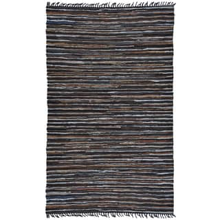 Hand Woven Brown Leather Hemp Rug 5 X 8 10134430