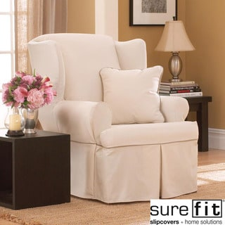 Contrast Cord Duck Natural Wing Chair Slipcover
