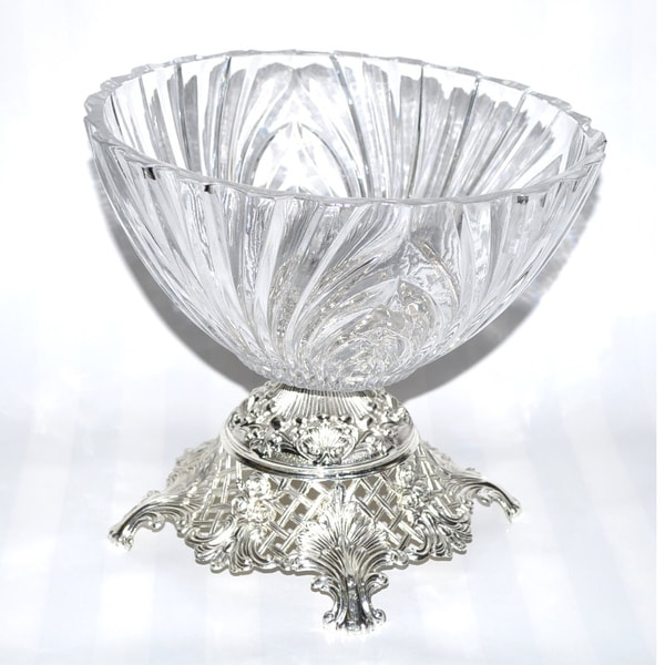 Threestar Clear Crystal/ Silvertone Footed Round Serving