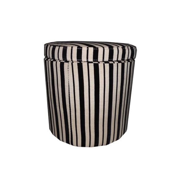 Black Beige Striped Storage Ottoman 14983379