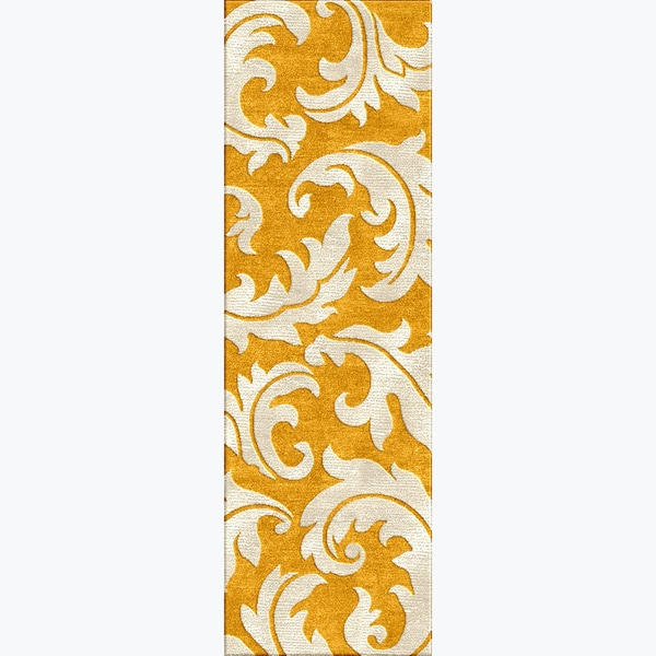 Rug Runner Gold: Tufted A43 Transitional Gold/ Yellow Wool/ Silk Runner Rug