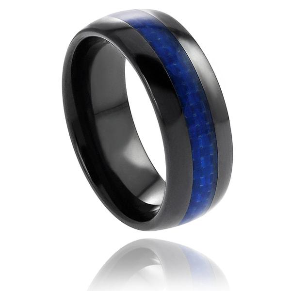 Men's Ceramic Blue Carbon Fiber Inlay Band