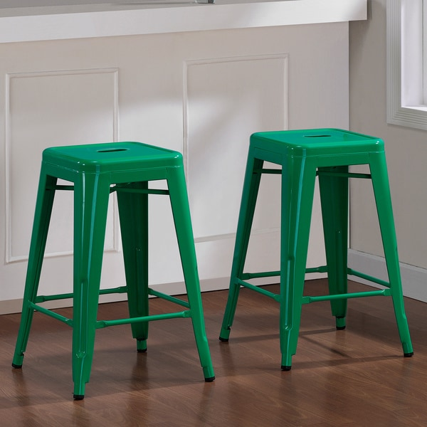 Tabouret 24 Inch Emerald Metal Counter Stools Set Of 2