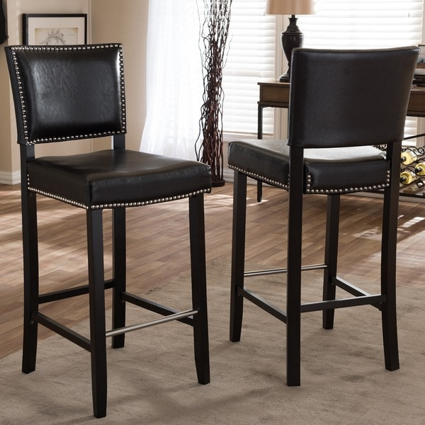 Baxton Stuido Aries Modern Bar Stools With Nailhead Trim