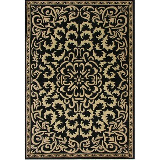Alliyah Handmade Black New Zealand Blend Wool Rug Wool Rug