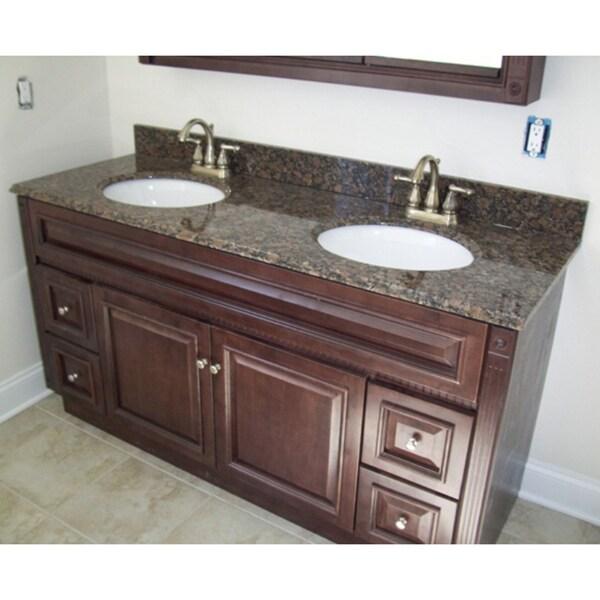 60 X 21 Heritage Cherry Bathroom Vanity Amp 61 X 22 Granite Top 15003633 Overstock Com
