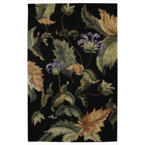 Hand Tufted Tropical Black Wool Rug 15005984 Overstock