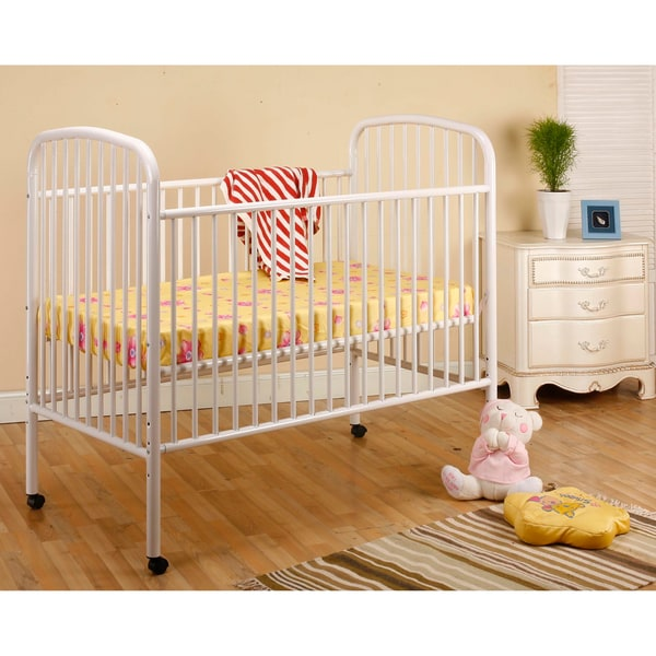 Toddler Bed Offers: K&B White Convertible Metal Crib/ Toddler Bed