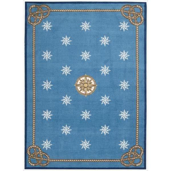Nautical Blue Rug: Shoreline Nautical Star Blue Polyester Rug (5' X 7