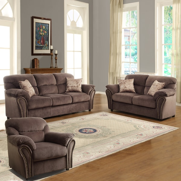 Evette chocolate microfiber 3 piece sofa set 15007351 - Microfiber living room furniture sets ...