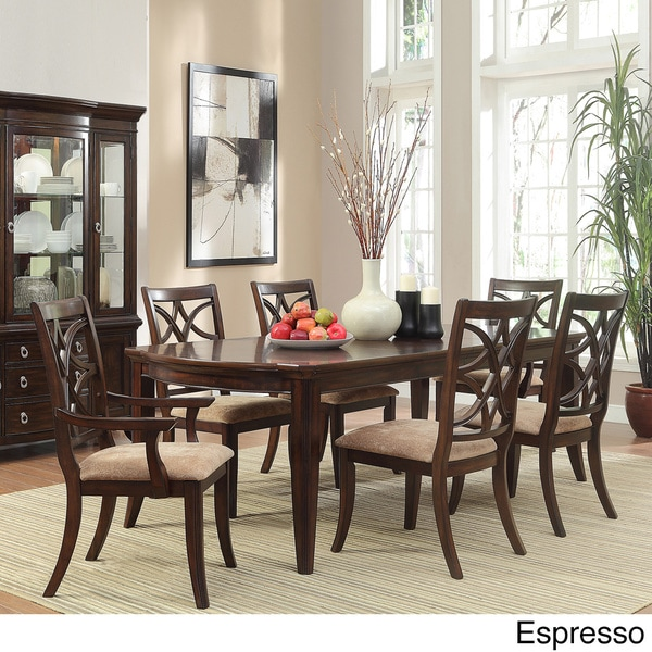 Tribecca Home Acton Warm Merlot X Back Casual Dining Side: TRIBECCA HOME Cheshire 7-piece Traditional Dining Set