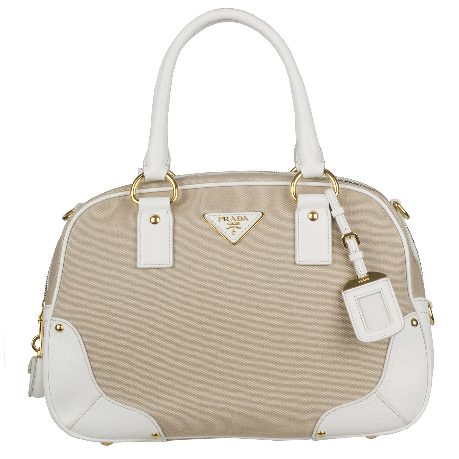 Prada Beige Canvas White Leather Trim Bowler Bag - 13767253 . d11bb6f1c41f2