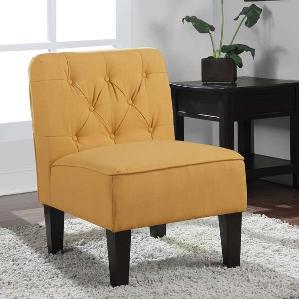 Tufted French Yellow Slipper Chair 15025498 Overstock