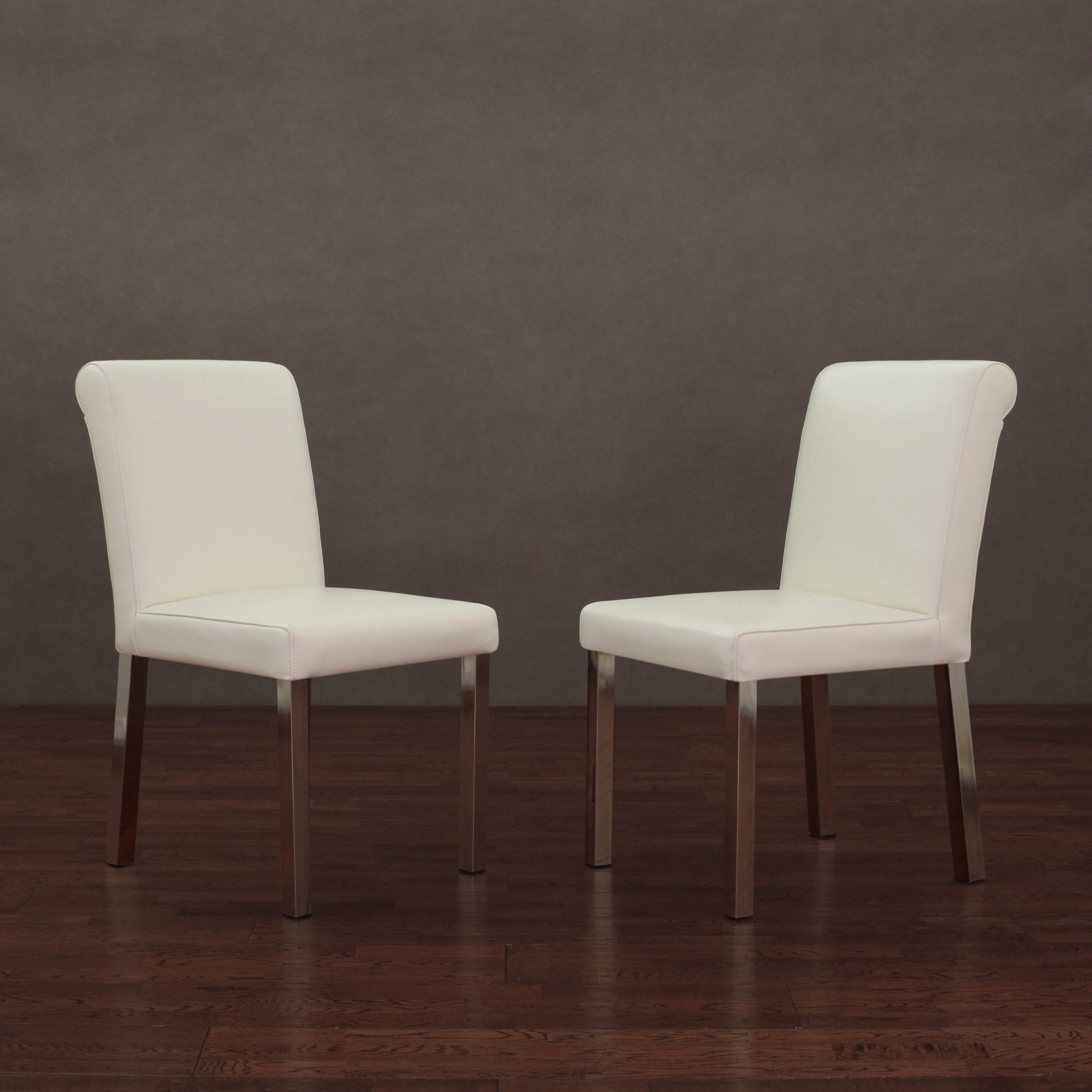 Dining Chairs Deals: Cosmopolitan Stainless Steel Modern White Leather Dining