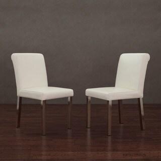 Marvelous Cosmopolitan Stainless Steel Modern White Leather Dining Creativecarmelina Interior Chair Design Creativecarmelinacom