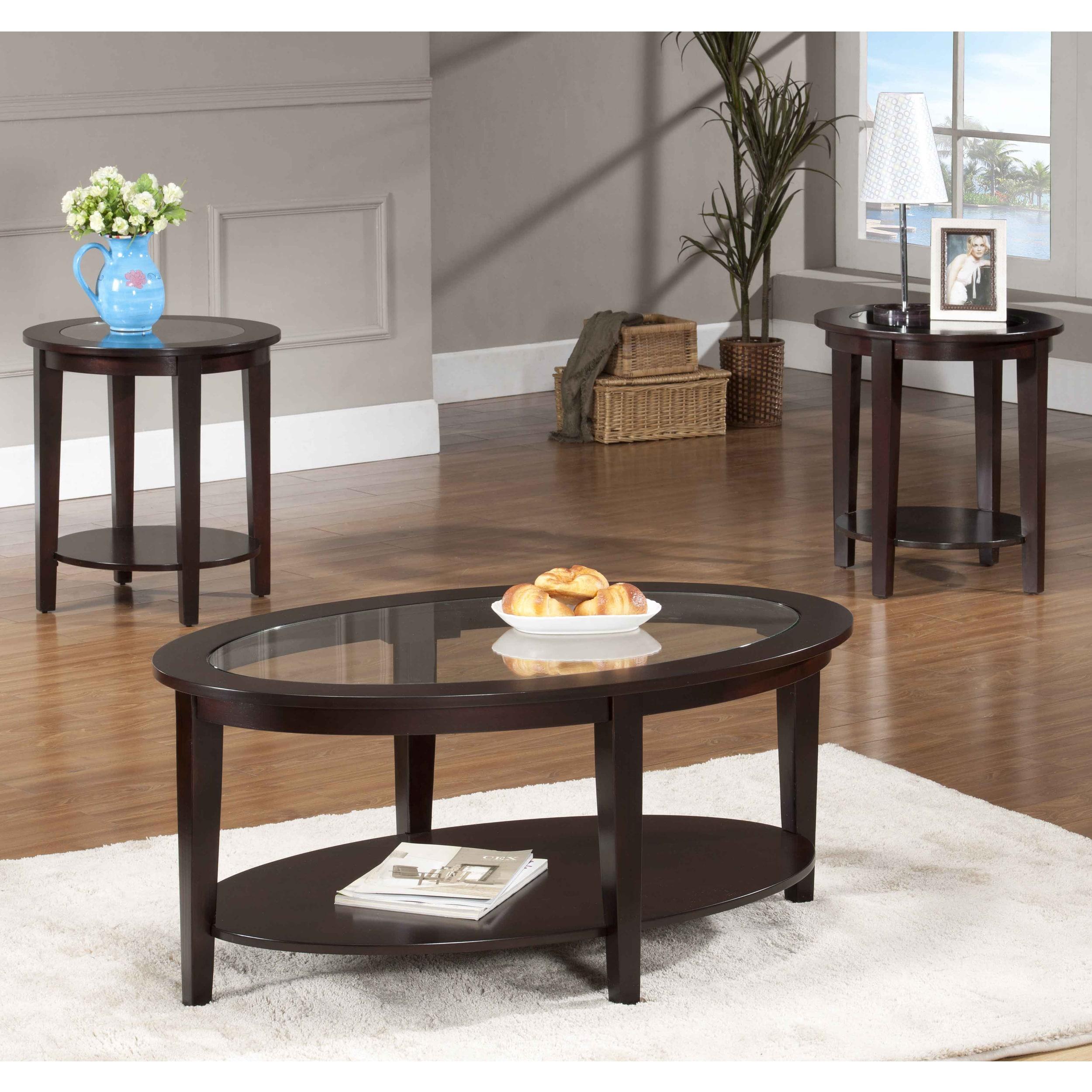 Oval Glass Coffee Table 3-piece Set