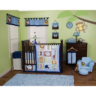 Trend Lab Jungle 123 Blue 5 Piece Crib Bedding Set